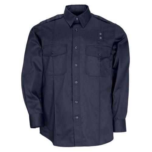 Pdu-streifen (Tactical Herren Twill PDU Klasse A Long Sleeve Shirt Teflon Treatment Achselbelüftung Style 72344, Herren, Midnight Navy (Marineblau), M-Short)