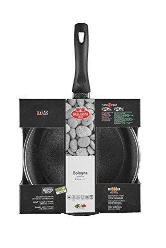 Ballarini Bologna Granitium Braising Pan 28 cm Aluminium with Glass Lid 9 N3K D.28 with Granitium Non-Stick Coating Suitable for Induction Cooking Temperature Control Made in Italy