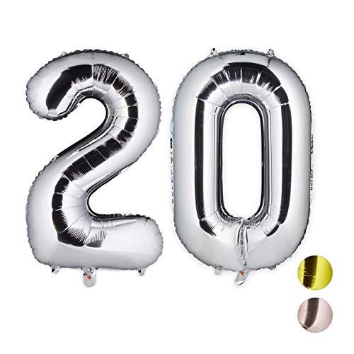 on Zahl 20, Deko für Geburtstag, Jubiläum, Hochzeitstag, 85-100 cm, XXL Zahlen Luftballon, Silber ()