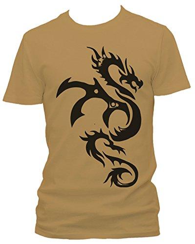 J.Roxx Drache Tribal Fun Herren T-Shirt, Größe:XXL;Farbe:khaki (Herren-braun-drache-shirt)