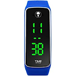 NEW 2017 MODEL - Time Style Blue LED Watch - Unisex, Adult & Kids Presented in Stylish Gift Box