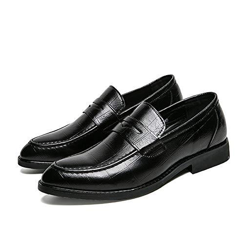 HILOTU Oxford-Schuh der Männer beiläufige Spitze geprägtes Leder bequemer Beleg auf formalen Geschäfts-Party-Schuhen (Color : Schwarz, Größe : 38 EU) -