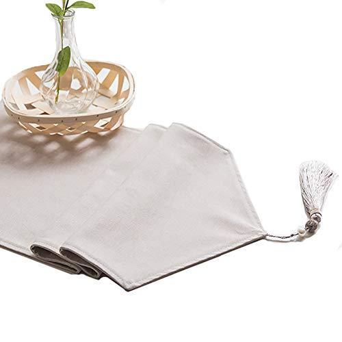 Chemin De Table En Lin Pur, Couvertures De Table Lavables En Drapeau De Table (Couleur : Light linen color, taille : 30×180cm)