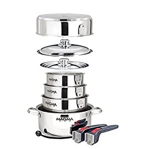 MAGMA A10-360L-IND 10 Piece Gourmet Nesting Stainless Steel Cookware Set, Induction, Silver, One size