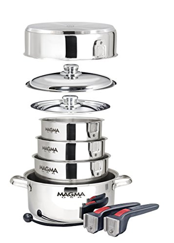 Magma 10-Piece Professional Series 18-10 Stainless Steel Gourmet Nesting Cookware Set, Induction Compatible