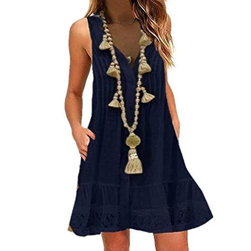 EUCoo Frauen Sommer Baumwolle Kleid Hanf T-Shirt Beiläufige Lose Übergroße Strand Kleid Kleid V-Ausschnitt Ärmelloses Sommerkleid Keine Halskette -