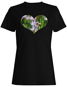 Abeja en el regalo de la forma del corazón imagen divertida camiseta de las mujeres d648f
