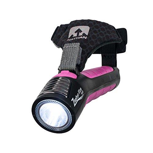 Nathan Running Taschenlampe Taschenlampe Zephyr Fire 100 mit Sirene LED-Licht für Läufer, Walker, Radfahrer, Kinder, Sicherheit Handheld Dual Front- und Rücklicht zum Sehen und Hinsehen Wiederaufladbarer Akku., Unisex, Black/Floro Fuchsia, One -