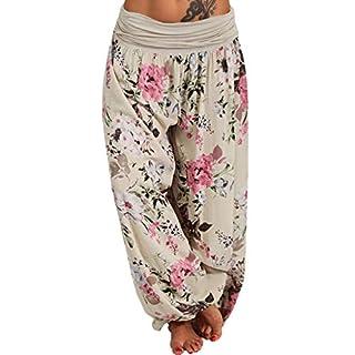 Anglewolf Women's Floral Boho Harem Pants Yoga Hippy Bohemian Rayon Print Smocked Waist Trousers with Smock Sweatpants Leggings(Beige,M)