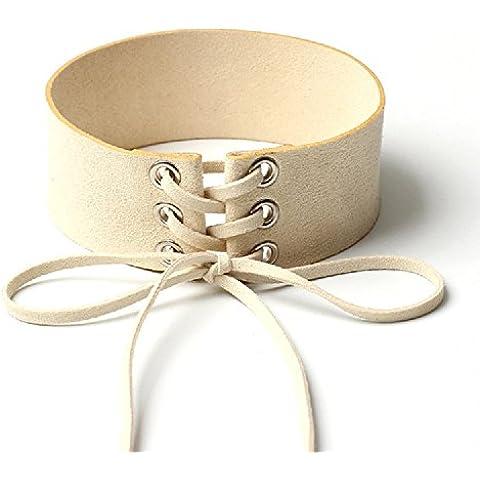 XJoel donne del collare largo nastro di velluto collana collare collana girocollo pizzo beige e (Betsey Johnson 2 Pezzi)