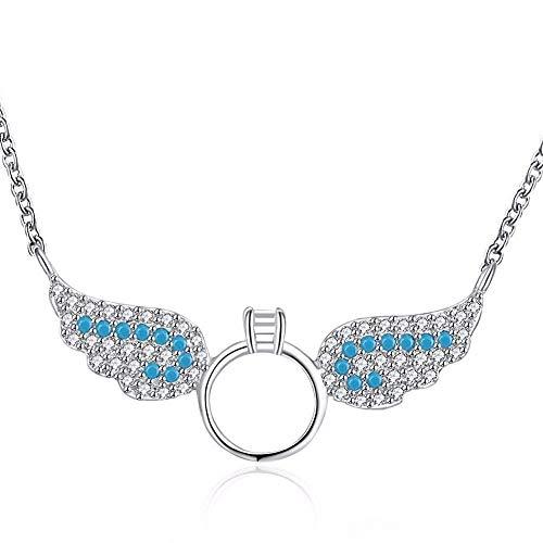X-L Dame Necklace 2019 Neuer Tropfen, Der 925 Sterlingsilber-Halsketten-Zirkon-Engelsflügel-Halsketten-Feinen Schmuck-Halsband Colar De Plata Verschickt, Halskette, a