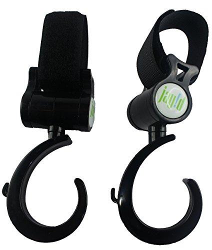 Zwei-robuste-und-universale-Kinderwagen-Haken-ideal-zum-anbringen-an-Ihrem-Kinderwagengriff-oder-anderen-Stangen-Die-Trger-haben-eine-optimale-Lnge-und-Breite-fr-Einkaufs-und-Handtaschen-Sind-drehbar-