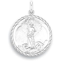 SAINT MICHEL - Médaille Religieuse - Or Blanc 9 carats - Diamètre: 17 mm - www.diamants-perles.com