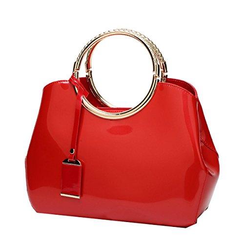 Yy.f Sacchetto Rosso Sposa Nuove Borse In Pelle Di Moda Vernice Lucida La Borsa Messenger Bag Borsa A Tracolla Selvaggio Policromo Red