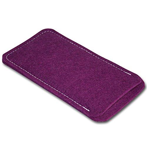 Filz Style Apple Iphone 7 Premium Filz Handy Tasche Hülle Etui passgenau für Apple Iphone 7 - Farbe schwarz pflaume