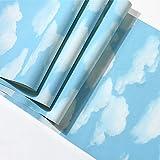 BIZHIGE Ciel Bleu Et Nuages Blancs Papier Peint Moderne Chambre À Coucher pour Enfants avec Papiers Peints Fond D'Écran en PVC Imperméable Décoration-360 × 230Cm