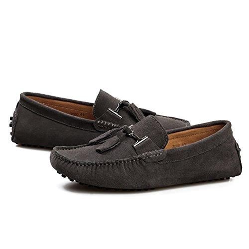 Baymate Unisexe Conduite Loafers Chaussures Désinvolte Chaussures Bateau Frange Décorer Gris