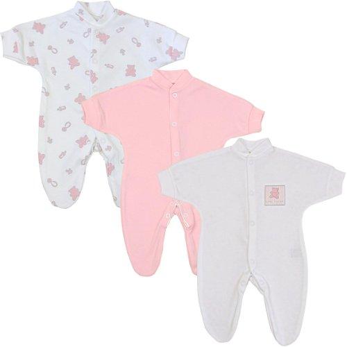 Neue Baby-mädchen-kleidung (BabyPrem Frühchen Baby Mädchen Kleidung 3 Schlafanzüge Strampler Rosa Teddybären P3)