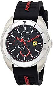 Ferrari Unisex-Adult Quartz Watch, Analog Display and Silicone Strap 830546