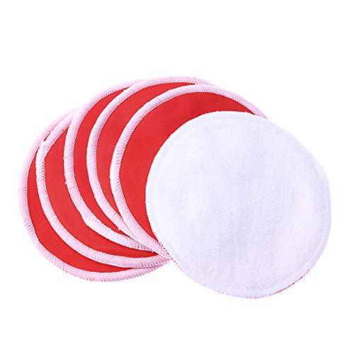 Frcolor 6pcs coton rechargeable pad rond de lavage du visage en bambou pad d'allaitement pour l'alimentation de brest (rouge)