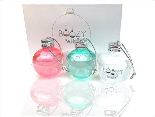 Boozy Baubles, confezione da 6 palle di Natale (vuote) si può riempire con un alcol a scelta, gin, vodka, whisky, rum, ottima idea regalo per Natale