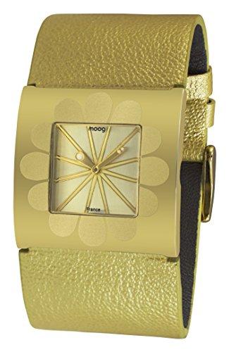 Moog Paris Petals Damen Uhr mit Champagner Zifferblatt, Champagner Armband aus echtem Leder - M41742-002