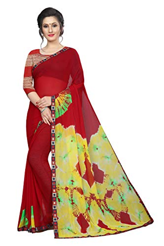 Indian Women's Shiffon Bandhani and lehariya Style Sari with Blouse Piece Agni RED