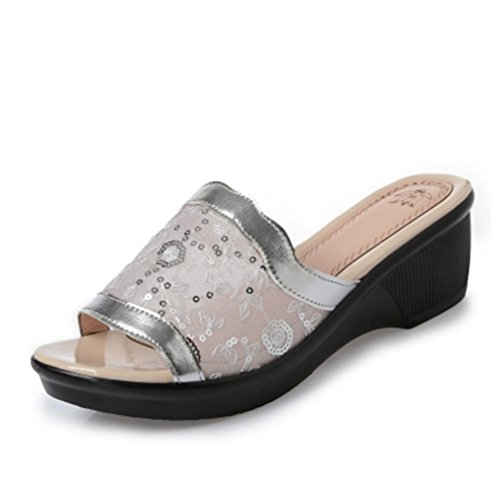 pengweiSlope mit coolen Pantoffeln Damen Sommer Mode flach mit Sandalen 1