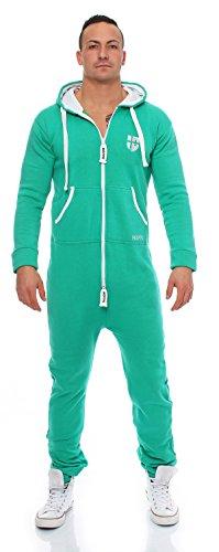 Gennadi Hoppe Herren Jumpsuit Onesie Jogger Einteiler Overall Jogging Anzug Trainingsanzug Slim Fit,grün,XXX-Large