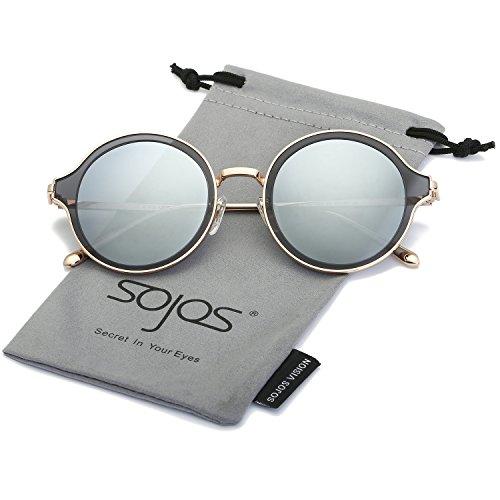 SOJOS Polarisierte Runde Sonnenbrille Schick Metallrahmen Sonnenbrillen Damen Herren SJ1058 mit Gold Rahmen/Silber Polarisierte Linse