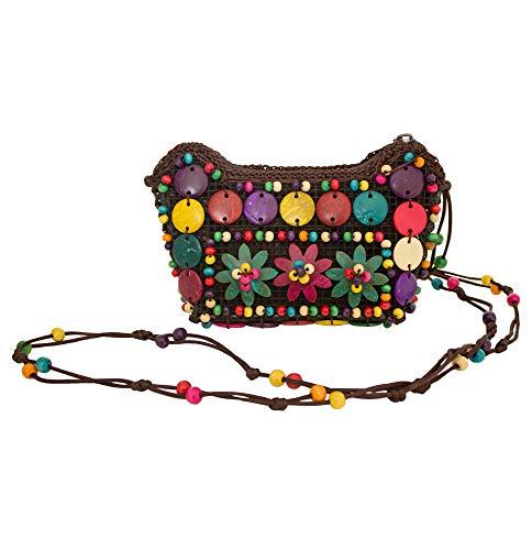 Bunte Hippie Blumen Handtasche mit Perlen - 17 x 12 cm - Umhängetasche zum Retro 60er 70er Jahre Outfit