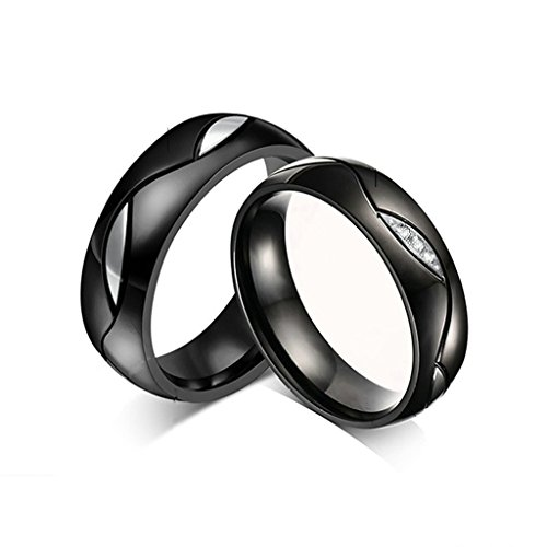 jsfyou Nero Tone Micro Zirconia Cubica Wave pietre in acciaio inox San Valentino amore coppie matrimonio promessa anello a fascia, donne dimensione 13,5 & uomini dimensione 26,5, colore: Black, cod. JSF109R