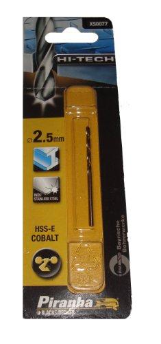 Piranha HSS-E Kobalt Hi-Tech Metallbohrer (für alle Metallarten, 2,5 mm Bohrdurchmesser, 57 mm Gesamtlänge) 1 Stück X50077