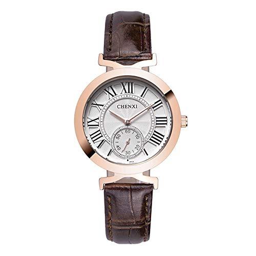 Damenuhren Kleine Sekunden Sub-dials Römische Zahlen Quarz Armbanduhren für Damen Mädchen Lederband Retro, Braun (Sekundenzeiger Mit Damen-uhr)