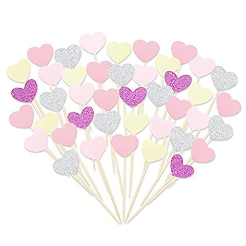Tomnk 50pcs Heart Cupcake Toppers Glitter Cupcake Topper Cake Snack Decorations for Birthday Party Wedding Baby Shower