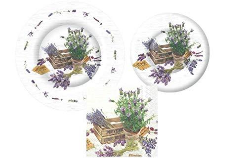 TLP Party Garden Themed Party vorratspackung! Bundle enthält pappteller und servietten für 8 Gäste in Einem Den Geschmack der Provence Lavendel -