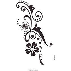 Tatuaje Temporal Cable florido–Tatuaje efímero Cable fleuri-–Pastilla de 1tatuaje negra–avastore -