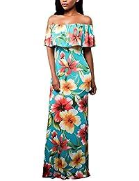 Vestito Donna Elegante Lunghi Vintage Stampato Floreale Abiti da Cerimonia  Estate Senza Spalline con Volant Curvy e7009957a5d