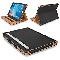 "MOFRED® Black & Tan Apple iPad Executive Leather Case for Apple iPad 9.7"" (For 2017,2018 & 2019 Versions)- Voted by 'The Daily Telegraph' as #1 iPad Case! (iPad Models A1822, A1823, A1893, A1954)"