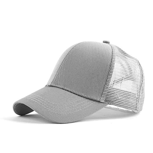 Homeofying Sommer Outdoor Frauen Pferdeschwanz Halter Mesh Baseball Cap Snapback Sonnenblende Hut Für Frauen Männer Grau