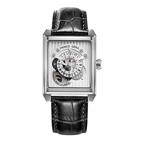 Prince Gera Rechteck Silber Herren Automatik Uhren wasserdicht Skelett Mechanische Uhr