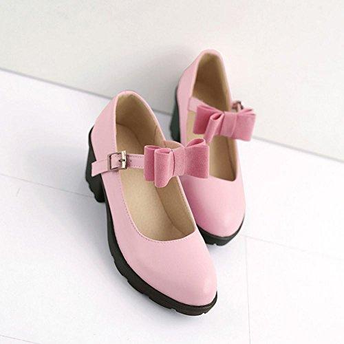 COOLCEPT Damen Mode-Event Knochelriemchen Schuhe mit Blockabsatz Geschlossene Pumps mit Bogen Pink