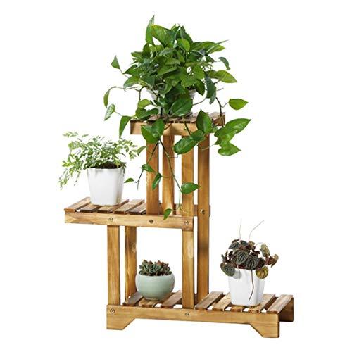 QXX Corner Wood Plant Rack Shelf Plants Display for 4 Pot Pot de Rangement pour Balcon de Jardin 55x25x66cm