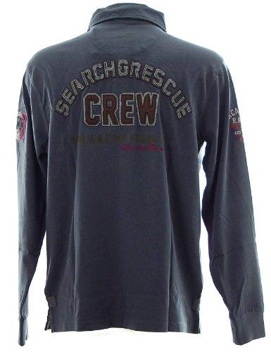 Kitaro Herren Langarm Poloshirt Polo Shirt -Special Forces Search & Rescue Crew- Blau