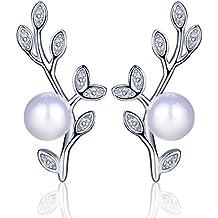 yumilok gioielli perle da donna in argento Sterling 925con zirconi Foglie Alberello Studs orecchio polsini orecchini ipoallergenico