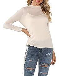 Camisa Larga Mujer Tops Deportivos Fiesta Sexy Moda Moda Casual O-Cuello Jersey De Manga Camiseta Delgada Blusa