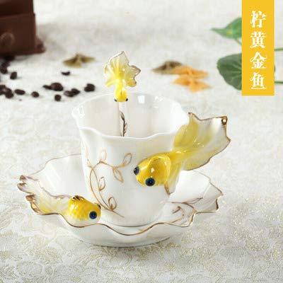 Hsxot moda in porcellana a mano pesce rosso tazza di caffè con piattino e cucchiaio set porcellana tazza di tè regalo di san valentino giallo