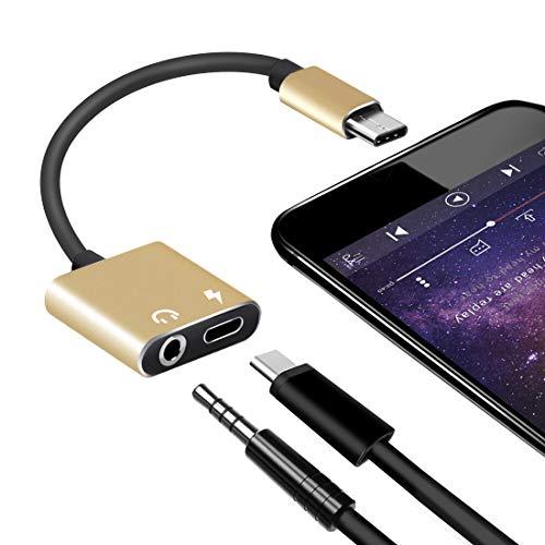 Adattatore USB Tipo C da 3,5 mm, Lively Life 2 in 1 Adattatore Tipo C Adattatore Jack per Cuffie Splitter da USB C a 3,5 mm per Huawei Mate 10 Pro/Oneplus/Le 2 / Le pro 3 / Xiaomi Mi 6 Oro