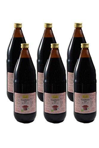 Bio Cranberry Saft, 100% Direktsaft in der Glasflasche aus Kanada, 6 x 1000ml - 100% Bio-noni-saft