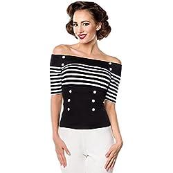 Belsira Jersey-Top Camiseta Mujer Negro-Blanco S